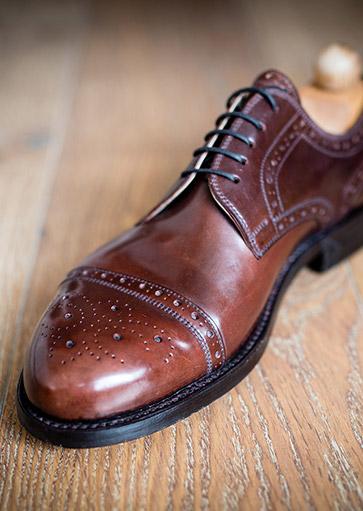 Kézzel készített barna Fabula bespoke cipő cordovan bőrből