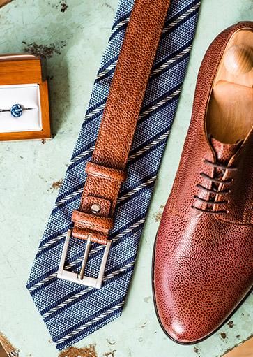 Méretre készített Fabula cipő és öv borjú bőrből