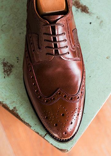 Méretre készített cipő, barna cordovan bőrből, Derby, Budapest modell, Fabula bespoke shoes